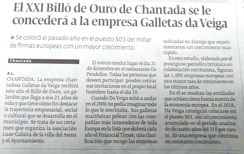 Extracto de El Progreso de Lugo