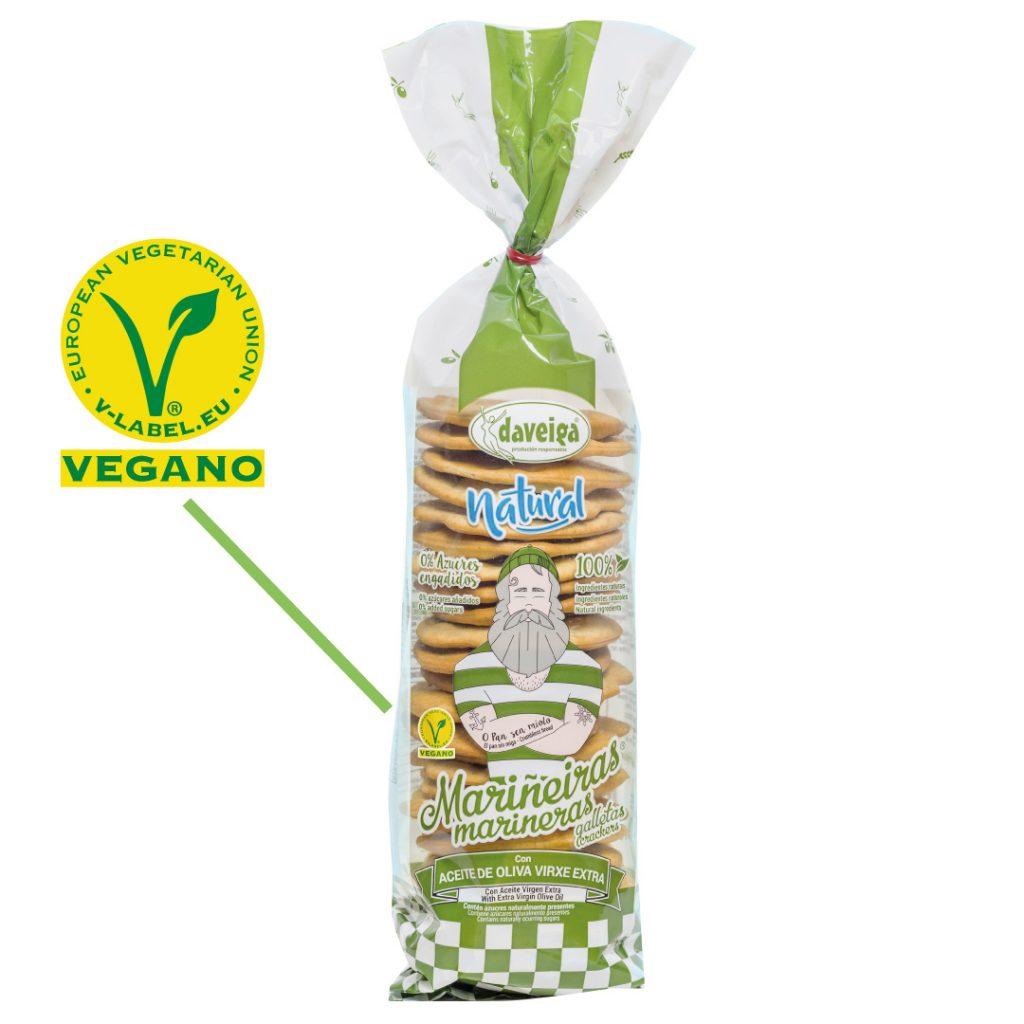 Ejemplo de logo vegano en paquete de Galletas Marineras